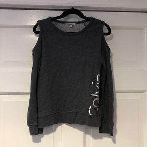 CALVIN KLEIN Charcoal Cold Shoulder Sweatshirt MED
